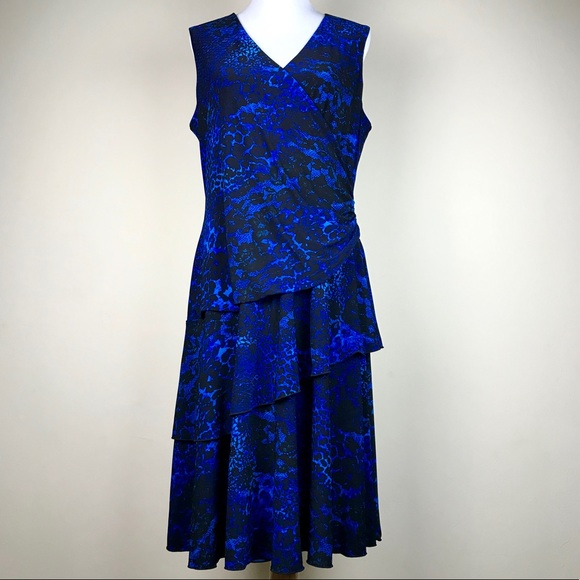 Dress Barn Dresses & Skirts - Luxe by Carmen Valvo Blue Black Animal Print Dress